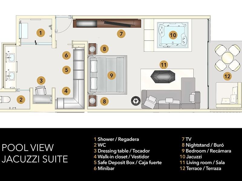 Temptation Grand Miches Resort | Pool View Jacuzzi Suite Floor Plan