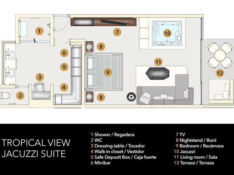 Temptation Grand Miches Resort | Tropical View Jacuzzi Suite Floor Plan